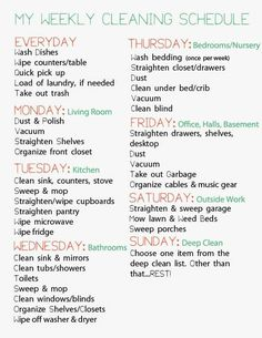 Easy Cleaning schedule for working moms Weekly Cleaning schedule for working moms Clean House Schedule, House Cleaning Checklist, Cleaning Hacks, Cleaning Lists, Household Cleaning Schedule, Cleaning Routines, House Cleaning Charts, Apartment Cleaning Schedule, Weekly Cleaning Schedule Printable