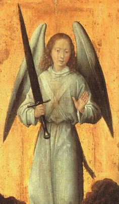 c.1479, Hans Memling,The Archangel Michael,Oil on wood,37x16 cm,Wallace Collection,London.