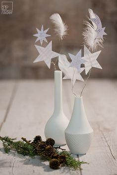 Weihnachtskollektion. Silber & Weiss. Winterblumen von räder aus Federn und Papier erzählen eine Geschichte von weißer Weihnacht. Ob im Fenster oder in der Vase. Als Dekoration bringen Sie ein Stück verwunschenen Winterwald in Ihr Zuhause.