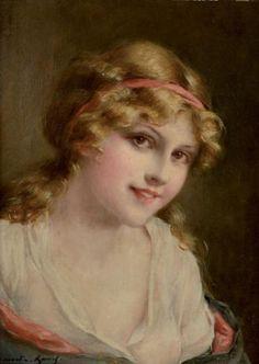 *François MARTIN-KAVEL (1861-1931) *  Portrait de femme en buste Huile sur toile, signée en bas à gauche. 33 x 24 cm