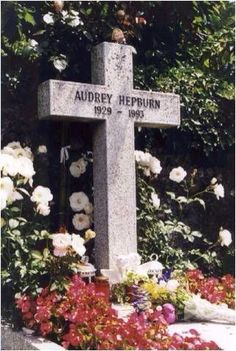 ( 2016 ) - † AUDREY HEPBURN (Audrey Kathleen Ruston) Saturday, May 1929 - - Ixelles, Belgium. Died: Wednesday, January 1993 (aged of - Tolochenaz, Switzerland. >Grave Marker - Audrey Hepburn one of Hollywood super movie stars of all times. Cemetery Headstones, Old Cemeteries, Cemetery Art, Graveyards, Monuments, Famous Tombstones, Famous Graves, After Life, Grave Memorials