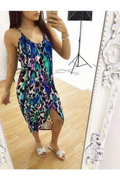 Josie printed dipped hem dress