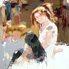 Albania-born modern artist Josef Kote painted fabulous feminine figurative paintings with gentle touch, and softer color palette.  http://www.cuded.com/2012/11/figurative-paintings-by-josef-kote/