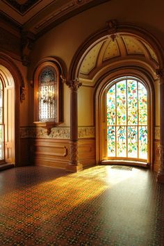 "Model Reference: ""Howard H. Hale added stained glass windows per his wife's request all throughout the vast home. Beautiful Architecture, Beautiful Buildings, Architecture Details, Interior Architecture, Interior Design, Beautiful Interiors, Beautiful Homes, Beautiful Places, Victorian Interiors"
