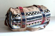 Ethnic Cotton duffle bag, aztec weekender bag, hippie travel bag, hipster overnight bag, cotton sports bag, Fitness gym bag, Light brown