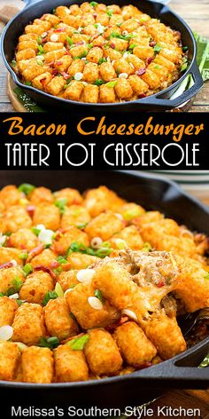 Bacon Cheeseburger Tater Tot Casserole features a flavorful cheeseburger filling topped with crispy potatoes is a one-dish-meal #cheeseburgercasserole #tatertotocasserole #cheeseburgers #easygroundbeefrecipes #dinner #dinnerideas #southernfood #southernrecipes #baconcheeseburgers Cheeseburger Tater Tot Casserole, Chicken Casserole, Hamburger Casserole, Chicken Enchiladas, Best Casseroles, Easy One Pot Meals, Ground Beef Recipes Easy, Cast Iron Recipes, Crispy Potatoes