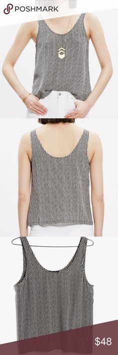 """Madewell Silk Sundown Tank in Triangle Field Excellent pre-loved condition.  100% Silk.  This lovely top is a re-posh that unfortunately didn't work for me (I so wanted it to)!  Really cool geometric pattern in black and white.  Wear it to work or for a night out!  Smoke free dog friendly home.  Add to a bundle for a private discount offer!  Armpit to armpit 18"""" Shoulder to hem 21.5"""" Madewell Tops Tank Tops"""