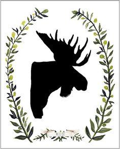 moose art, woodland art, animal print, moose silhouette, art print, nursery art, childrens art. $18.00, via Etsy. MeandWee shop