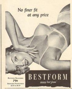 1954 vintage lingerie AD BESTFORM