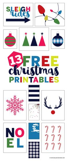 13 free Christmas gallery wall printables to instantly decorate your home for the holidays. Bright, playful & on-trend. Chic Christmas decor!