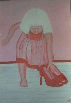 Voor de kinderkledingwinkel van mijn zus: gewoon leuke kleding in Schiedam. Acryl en olie 110-80 cm