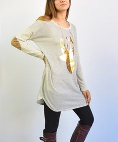 Loving this Gray Elbow Patch Deer Tunic on #zulily! #zulilyfinds