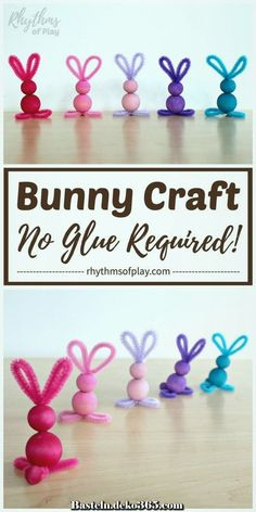 easy crafts Pipe cleaner crafts like this easy bunny craft made with chenille stems and wooden beads are simple for kids of all ages--no glue required! A cute pipe cleaner bunny craft that Bunny Crafts, Easter Crafts For Kids, Crafts For Children, Unicorn Crafts, Easter Activities, Preschool Crafts, Crafts For Preschoolers, Spring Crafts, Holiday Crafts