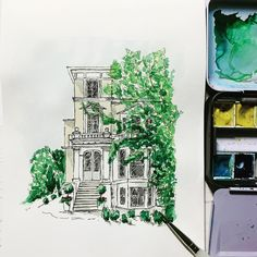 Hand painted watercolour house with ink.  Love the loose sketchy feel to this illustration, which is a bit different to my normal style! Calligraphy Wedding Place Cards, Calligraphy Save The Dates, Calligraphy Envelope, Foil Wedding Invitations, Wedding Paper, Wedding Cards, Letterpress, Watercolour, Menu