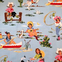western cute cowgirl country guitar cow dog horse cactus retro fabric cotton FQ- oh so Kelly!