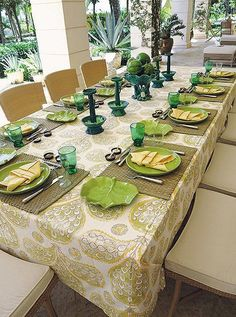 Drawing inspiration from the verdant gardens of La Colina, sage, emerald, and rich teal enliven the tablescape of one of Bunny's alfresco lunches.