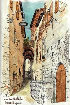 Luzech; rue des Pénitents by Cat Gout, via Flickr