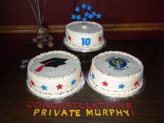 Donovan's birthday, graduation, and army cakes