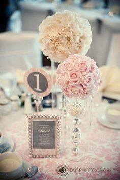 Ivory Pink Silver Centerpiece | Wedding Reception