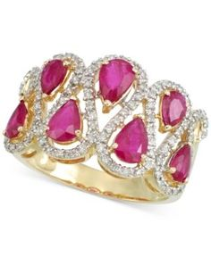 Rare Featuring Gemfields Certified Ruby (1-5/6 ct. t.w.) and Diamond (1/3 ct. t.w.) Ring in 14k Gold - Red