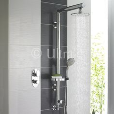 Thermostatic Twin Shower Valve with Symmetry Shower Kit from the Flume collection by Ultra.