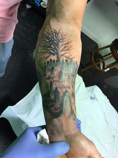 If you are in search of a mystical subject for your next tattoo then here you will find some of the most impressive graveyard and cemetery tattoo designs to choose from. This weird subject enjoys immense popularity. Scary Tattoos, Tattoos For Guys, Skull Tattoos, Graveyard Tattoo, Tombstone Tattoo, Haunted Graveyard, Tattoo Designs, Tattoo Ideas, Tribal Cross Tattoos