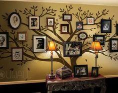 Family tree ideas ... I like this.  My mom has many, many photos on her wall.  I think it's her way of not having to paint!