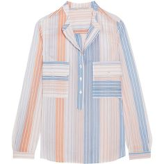 Stella McCartney Striped cotton-blend blouse (£365) ❤ liked on Polyvore featuring tops, blouses, colorful blouses, striped top, striped blouse, stella mccartney and navy stripe top