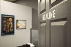 Healing Room: What a great name for an adjusting room! Come expecting a miracle, leave telling others! #diy #affordablebuilding #gonsteadchiro #industrial