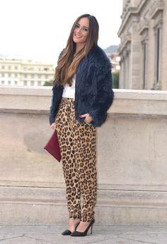 Leopard and fur black coat
