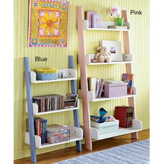 @Overstock.com - Kids' Four-tier Shelf - Help your child get organized in style with these kids ladder storage shelves. This colorful shelf is designed to lean against the wall and features medium-density fiberboard (MDF) construction for long-lasting good looks and durability.  http://www.overstock.com/Home-Garden/Kids-Four-tier-Shelf/3812806/product.html?CID=214117 $74.99