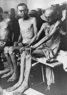 Emaciated survivors are pictured in the concentration camp Auschwitz after its liberation.
