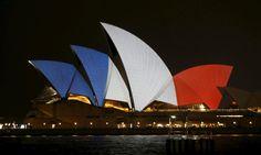 L'opéra de Sydney, en Australie en hommage aux victimes des attentats de Paris le 13 novembre 2015