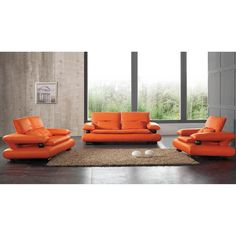 Luca Home Orange Sofa, Loveseat and Chair Set (Sofa, Loveseat,Chair Orange SET)