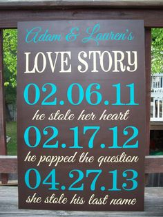 PERSONALIZED - LARGE 3ftx4ft - Love Story Important Dates Sign, Wedding Decor, Wedding Sign, Reception via Etsy