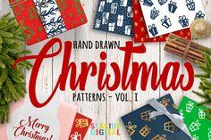 Hand Drawn Christmas Patterns I By Seaside Digital