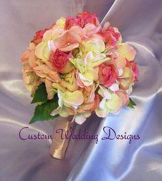 Wedding Bouquet in soft shades of pink. by Customweddingdesigns, $65.00