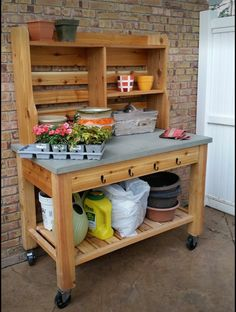 $700 Potting bench made with specs of Pottery Barn's Abbot Island and Hutch, which they have on sale for $1799.