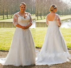 2017 New Plus Size Elegant A Line Wedding Dresses Half Sleeves V Neck Sheer Lace Appliques Corset Back Vestios De Novia Bridal Gowns Dresses Wedding Halter Neck Wedding Dresses From Babyonline, $196.49| Dhgate.Com