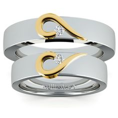 Matching Curled Heart Diamond Wedding Ring Set in White and Yellow Gold https://www.brilliance.com/wedding-rings/matching-curled-heart-diamond-wedding-ring-set-white-yellow-gold