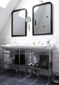 black carved arch mirror bath bathroom sink vanity basin subway tile cococozy