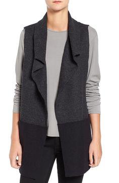 Eileen Fisher Colorblock Boiled Wool Funnel Neck Vest (Regular & Petite)