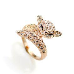 Оптовая сплав кольца с бриллиантами с 18 К позолоченные, фокс животных картина кольцо