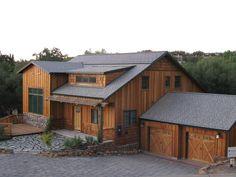 Photovoltaic (solar power) roof tiles that look like regular slate tiles.