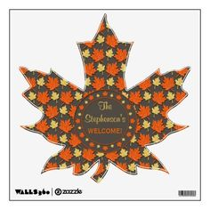 Fall Maple Leaves Name Welcome Wall Decal