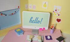 Cute Girl Desk Wallpaper