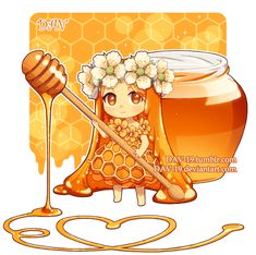 Honey by on DeviantArt Cartoon As Anime, Cute Anime Chibi, Kawaii Chibi, Kawaii Art, Anime Art, Cute Food Drawings, Kawaii Drawings, Chibi Food, Cute Art Styles