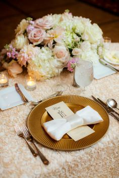 Pink and White Centerpiece with Gold Place Setting | The Youngrens | Theknot.com