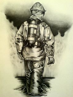 Firefighter Drawing, Pencil Drawings, Art Drawings, Blackout Tattoo, Angel Drawing, Volunteer Firefighter, Crayon, Usmc, Black Panther