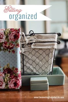 Pretty and Functional Organzing Supplies, Wire baskets, turquoise tray and box, Celebrating Everyday Life with Jennifer Carroll